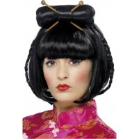 Parrucca da geisha con bacchette