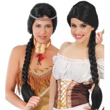 Parrucca lunga con treccia nera