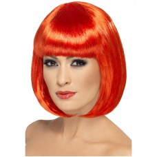 Parrucca a caschetto con frangia rossa