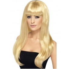 Parrucca lunga con frangia bionda