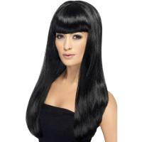 Parrucca lunga con frangia nera