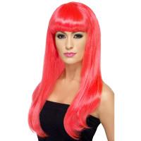 Parrucca lunga con frangia pink neon
