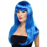 Parrucca lunga con frangia blu