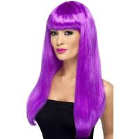 Parrucca lunga con frangia viola