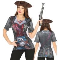 Maglietta con stampa da pirata donna
