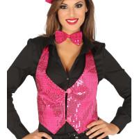 Gilet con paillettes da donna pink