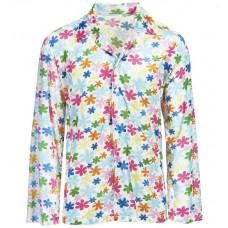 Camicia da hippie fiorata bianca