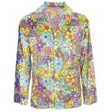 Camicia da hippie fiorata blu