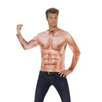 Maglietta con muscoli stampati