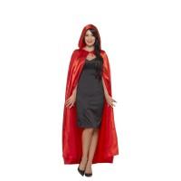 Mantello lucido con cappuccio rosso