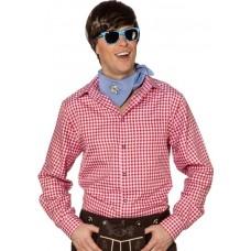 Camicia bavarese da uomo a quadretti rossi