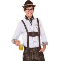 Camicia bavarese da uomo bianca con taschino