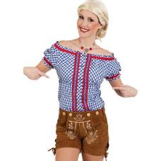 Camicia bavarese da donna a quadretti blu