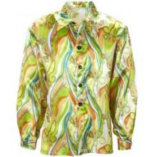 Camicia da hippie psichedelica verde