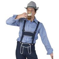 Camicia bavarese da uomo a quadretti blu
