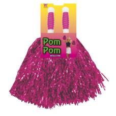 Paio di pom pom metallizzati pink